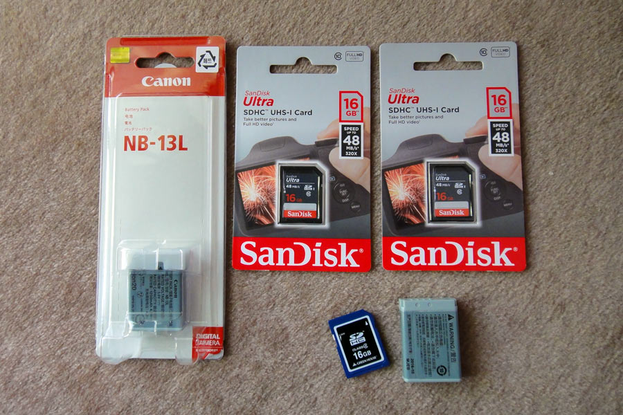 Canon バッテリーパック NB-13LとSanDisk Ultra 16GB UHS-I 48MB/s Class10
